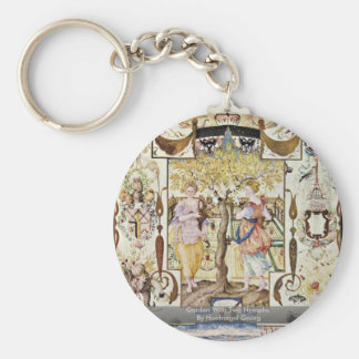 Garden With Two Nymphs By Hoefnagel Georg Keychains