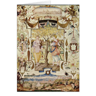 Garden With Two Nymphs By Joris Hoefnagel Greeting Card