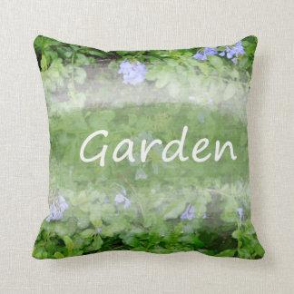 Garden word with plumbago flower bush gardening throw pillow