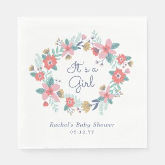 Garden Wreath Baby Shower Napkin