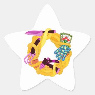 Garden wreath star sticker