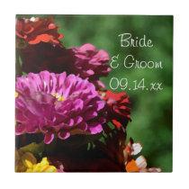 Garden Zinnia Flowers Wedding Ceramic Tile