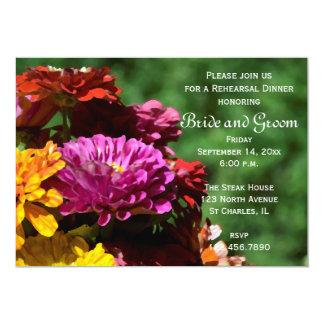 Garden Zinnia Flowers Wedding Rehearsal Dinner Card