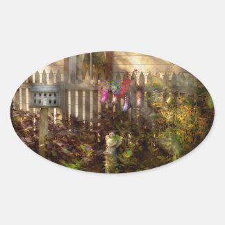 Garden - Zoar, OH - Ready for rain Oval Sticker