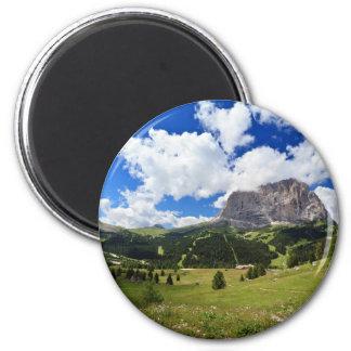 Gardena valley and Sassolungo mount 2 Inch Round Magnet