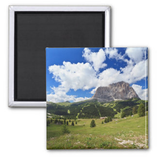 Gardena valley and Sassolungo mount 2 Inch Square Magnet