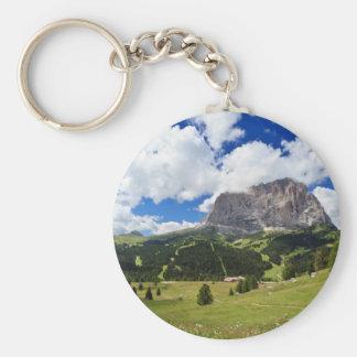 Gardena valley and Sassolungo mount Basic Round Button Keychain