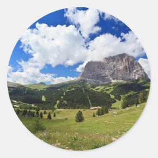 Gardena valley and Sassolungo mount Classic Round Sticker