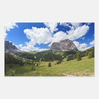 Gardena valley and Sassolungo mount Rectangular Sticker