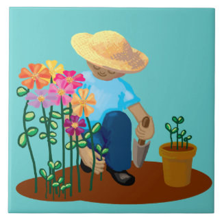 Gardener and flowers large square tile