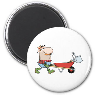 Gardener Drives A Barrow With Tools 2 Inch Round Magnet