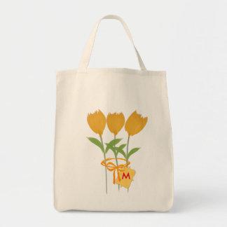 Gardener Florist Yellow Tulip Bouquet Grocery Tote Bag