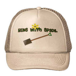 "Gardener Gifts ""Runs With Spade""--Adorable! Trucker Hat"