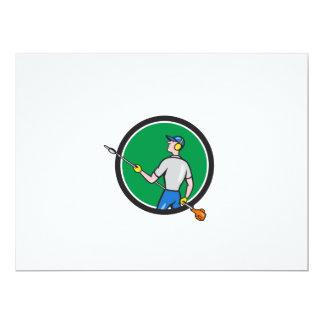 Gardener Hedge Trimmer Circle Cartoon Card
