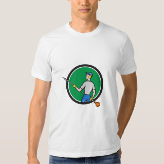 Gardener Hedge Trimmer Circle Cartoon Shirt