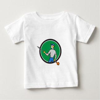 Gardener Hedge Trimmer Circle Cartoon T-shirt