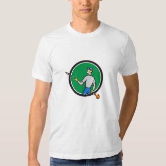 Gardener Hedge Trimmer Circle Cartoon Tee Shirt