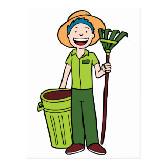 Gardener Holding Trashcan and Rake Postcard