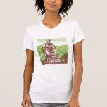 Gardener Landscaper Riding Lawn Mower Retro Tee Shirts