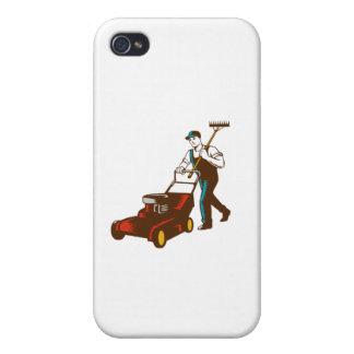 Gardener Lawn Mower Rake Woodcut Case For iPhone 4