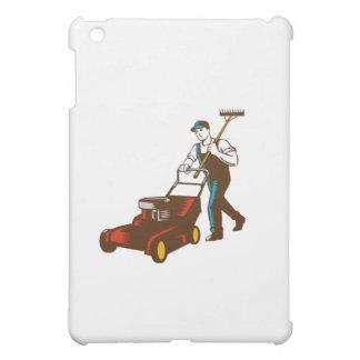 Gardener Lawn Mower Rake Woodcut iPad Mini Cover