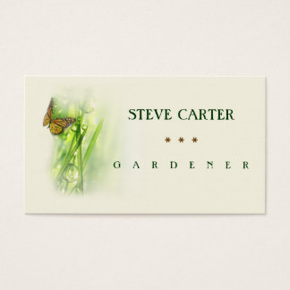 Gardener Meadow Butterfly Florist Plants Green Business Card