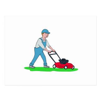 Gardener Mowing Lawn Cartoon Postcard