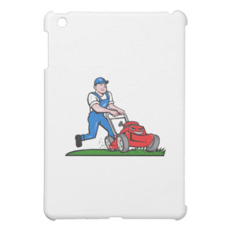 Gardener Mowing Lawn Mower Cartoon iPad Mini Cases