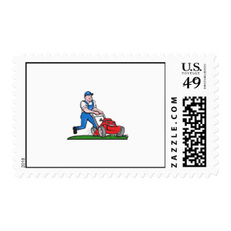 Gardener Mowing Lawn Mower Cartoon Postage
