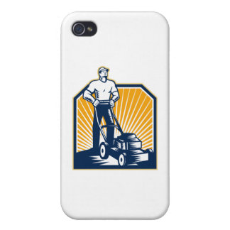 Gardener Mowing Lawn Mower Retro Covers For iPhone 4