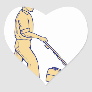 lawnmower drawing. gardener mowing lawnmower drawing heart sticker