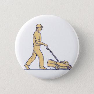 Gardener Mowing Lawnmower Drawing Pinback Button