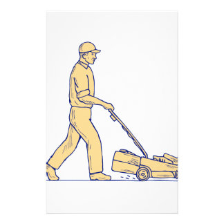 Gardener Mowing Lawnmower Drawing Stationery
