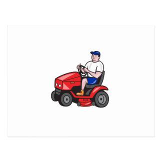 Gardener Mowing Rideon Lawn Mower Cartoon Postcard