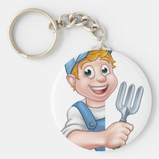 Gardener or Farmer Cartoon Character Keychain