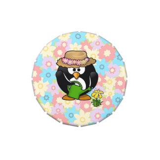 Gardener Penguin With Flower Background Jelly Belly Tin
