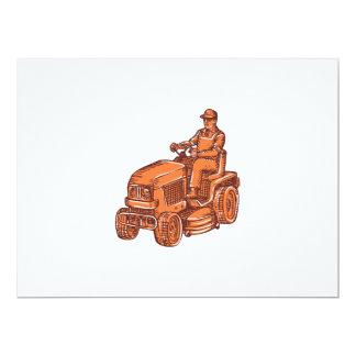 Gardener Ride-On Mower Etching 6.5x8.75 Paper Invitation Card