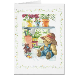Gardener Teddy Bear Card