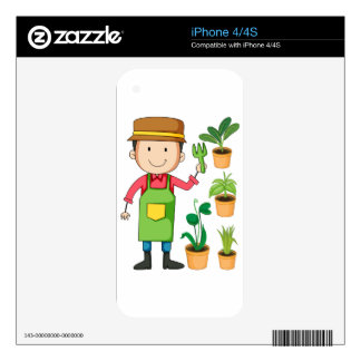 Gardener with potted plants decals for the iPhone 4S
