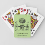 "Gardeners Family Reunion Playing cards custom Name<br><div class=""desc"">Vintage illustration showing two men with a young tree in a pot a traditional lettering for your Monogram. Perfect personalized Family reunion playing cards. You can easily change text and monogram (color front and black for drop shadow), background color, size and position of the image by clicking the customize or...</div>"