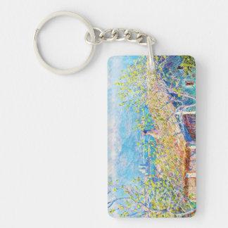Gardener's House at Antibes Claude Monet Double-Sided Rectangular Acrylic Keychain