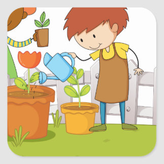 Gardeners planting tree and flower in garden square sticker