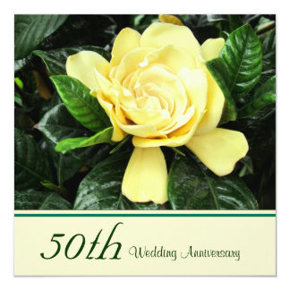 """Gardenia 50th Anniversary Invitation 5.25"""" Square Invitation Card"""