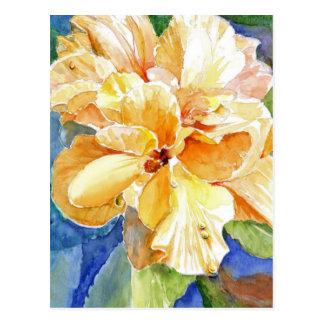 Gardenia amarillo gigante en fondo azul postales