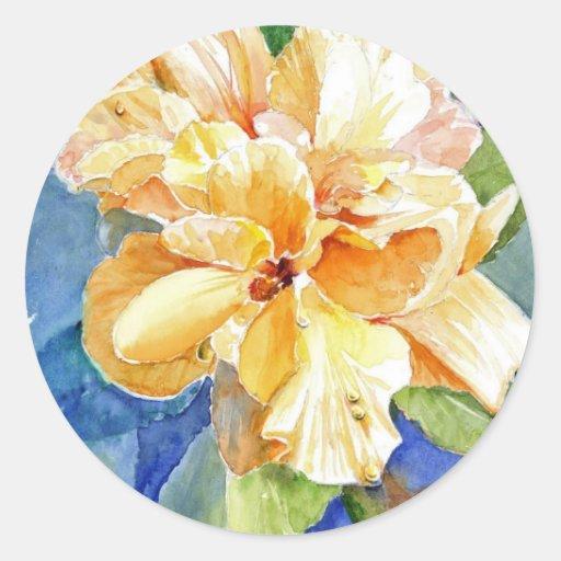 Gardenia amarillo grande etiquetas redondas