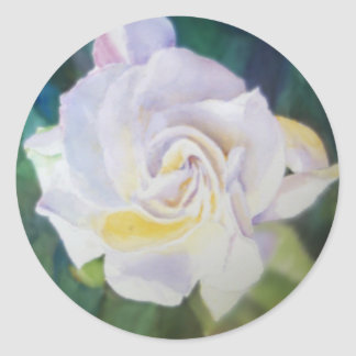 Gardenia color crema grande pegatina redonda