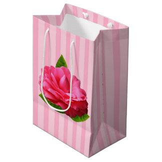Gardenia rosado bolsa de regalo mediana