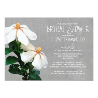 "Gardenias Bridal Shower Invitations 5"" X 7"" Invitation Card"
