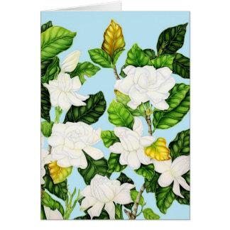 Gardenias con el cielo azul tarjeta de felicitación