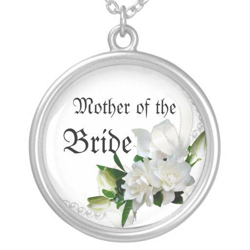 Gardenias del boda collar plateado